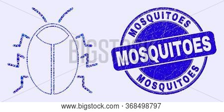 Geometric Bug Mosaic Pictogram And Mosquitoes Seal Stamp. Blue Vector Rounded Textured Seal Stamp Wi