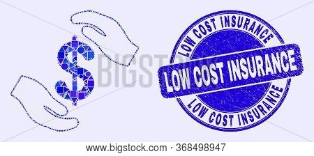 Geometric Hands Care Dollar Mosaic Pictogram And Low Cost Insurance Stamp. Blue Vector Round Distres