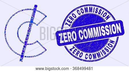 Geometric Cent Mosaic Pictogram And Zero Commission Stamp. Blue Vector Rounded Textured Seal Stamp W