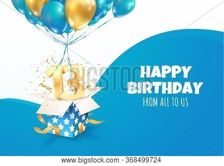 Celebrating Of 13 Th Years Birthday Vector Illustration. Thirteen Anniversary Celebration. Teenage B