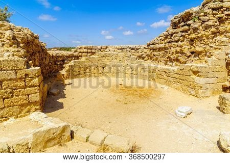 View Of The Keep Of The Crusader Fortress, In Apollonia National Park (tel Arsuf), Herzliya, Israel