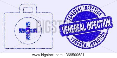 Geometric Medical Case Mosaic Icon And Venereal Infection Seal Stamp. Blue Vector Round Distress Sta