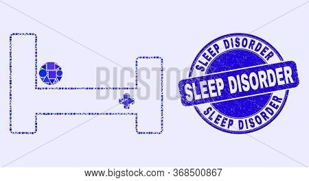 Geometric Hospital Bed Mosaic Pictogram And Sleep Disorder Seal Stamp. Blue Vector Round Distress St