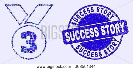 Geometric Third Medal Mosaic Icon And Success Story Seal. Blue Vector Rounded Textured Seal With Suc