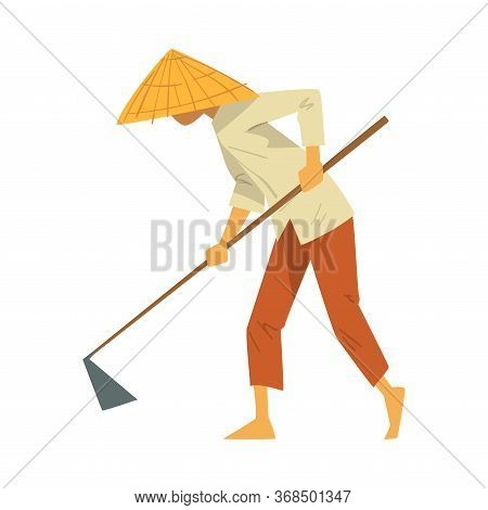 Asian Farmer In Straw Conical Hat Working With Hoe On Paddy Field Cartoon Style Vector Illustration