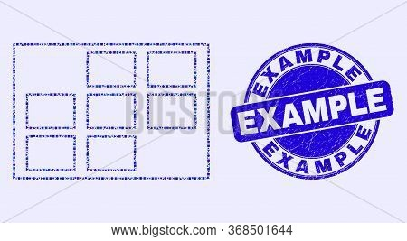 Geometric Grid Cells Mosaic Icon And Example Seal Stamp. Blue Vector Round Textured Seal Stamp With