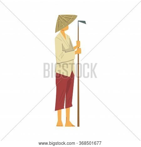 Asian Farmer In Straw Conical Hat Standing With Hoe Cartoon Style Vector Illustration On White Backg