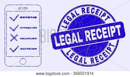 Geometric Smartphone Task List Mosaic Pictogram And Legal Receipt Seal Stamp. Blue Vector Round Scra