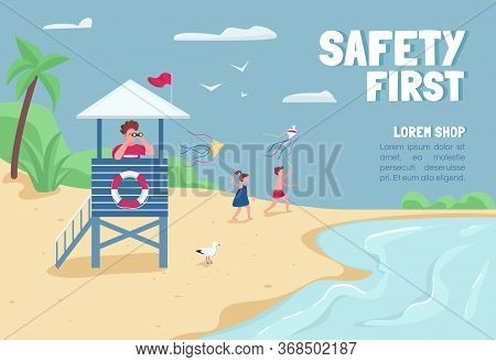 Safety First Banner Flat Vector Template. Brochure, Poster Concept Design With Cartoon Characters. T