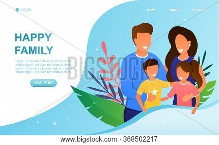 Young Attractive Couple With Children Concept. Parents Hug Children. Beautiful Family. Happy Childho