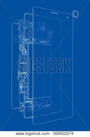 Disassembled Smartphone Concept Outline. Vector Rendering Of 3d. Wire-frame Style. The Layers Of Vis