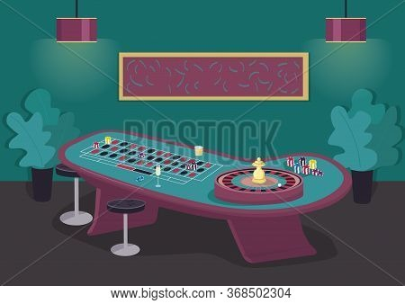Roulette Table Flat Color Vector Illustration. Spin Wheel To Win Bet. Put Stake On Black And Red. Ga