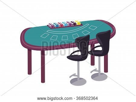 Casino Cartoon Vector Illustration. Green Table To Play Blackjack Flat Color Object. Desk To Play Ca