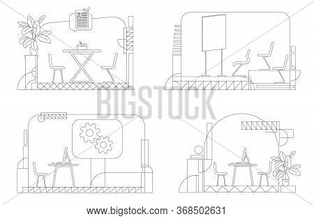 Company Interior Outline Vector Illustrations Set. Empty Corporate Rooms Contour Composition On Whit