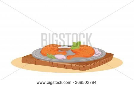 Tandoori Chicken Cartoon Vector Illustration. Served Traditional Indian Meal, Meat With Yogurt Sauce