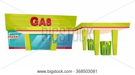 Gas Station Exterior Cartoon Vector Illustration. Petrol Refill Store Front Flat Color Object. Oil A