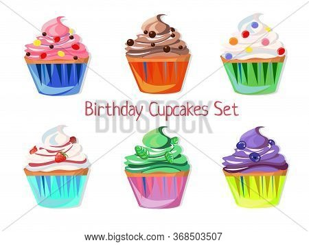 Set Of Birthday Cupcakes With Different Decorations And Flavors. Vector Clipart.