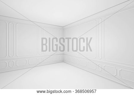 Simple Empty White Room Corner With White Decorative Molding Frames On Wall In Classic Style, With F