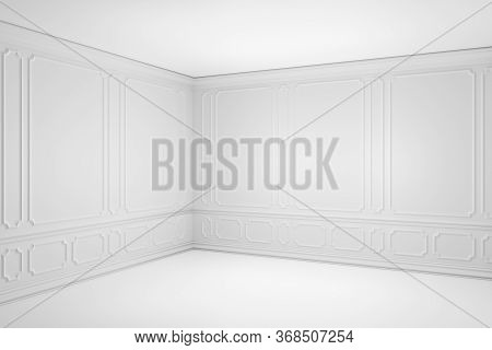 Simple Empty White Room With White Decorative Molding Frames Elements On Wall In Classic Style, With