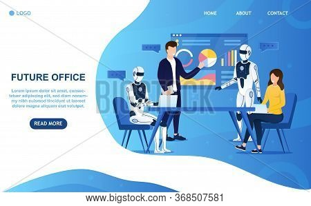 Robots Office Workers Artificial Intelligence Concept. Futuristic Workflow. People And Robots Work T