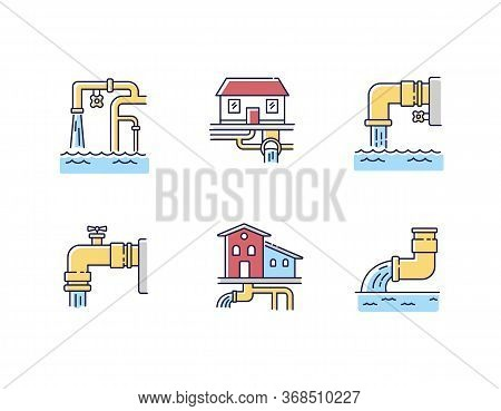 Drainage Pipe System Rgb Color Icons Set. Home Sanitation Service. Pipeline Structure For Waste Wate