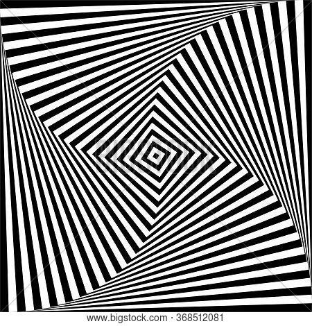 Abstract Op Art Design Element. Illusion Of Swirl Twisting Movement. Lines Texture. Vector Illustrat