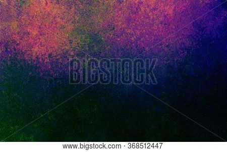 Pink Blue Green Spots And Splashes On A Black Background. Abstract Colored Spots. Background For Gra
