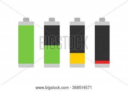 Battery Levels. Battery Charging Level. Set Of Battery Charging Charge Indicator Icons. Vector Illus