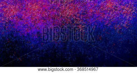 Blue Red Violet Spots And Splashes On A Black Background. Abstract Colored Spots. Background For Gra