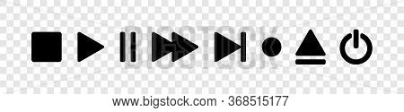 Buttons Video And Audio Collection. Audio And Video Buttons, Isolated. Set Of Buttons In A Row. Eps1
