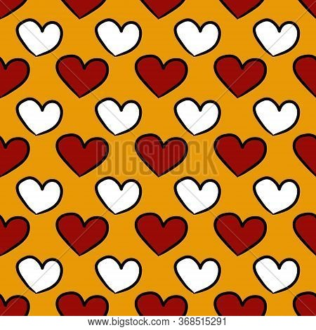 Seamless Pattern Background Of Color Heart On Yellow Color