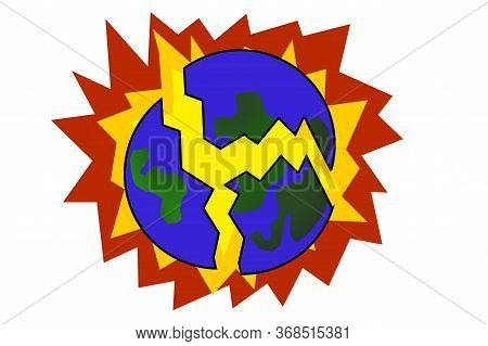 Art Color Planet Earth Explode On White Background