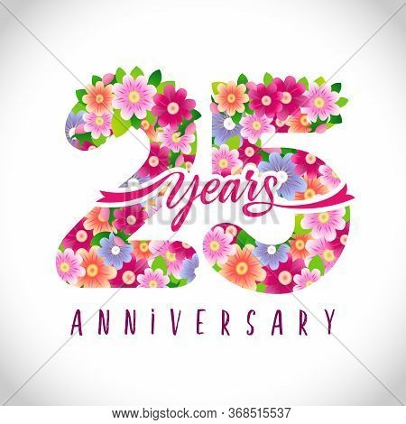 25 Th Anniversary Numbers. 25 Years Old Logotype. Floral Pink Congrats. Isolated Abstract Graphic De
