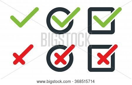 Check Mark With Cross, Isolated. Check Mark With Cross Vector Icons In Flat Design. Check Marks With