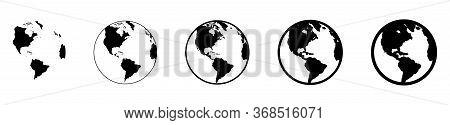 Earth Globe In Flat Designs. World Map In Circle. Earth Globes Collection. World Map In Modern Simpl