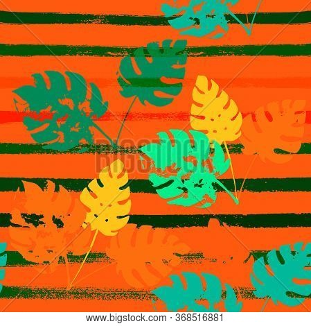 Sailor Stripes Vector Seamless Pattern, Orange Green Vivid Exotic Floral Fabric Design.  Watercolor