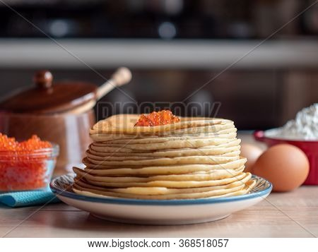 Pancakes With Red Caviar. Traditional Russian Cuisine. Maslenitsa, Shrovetide.