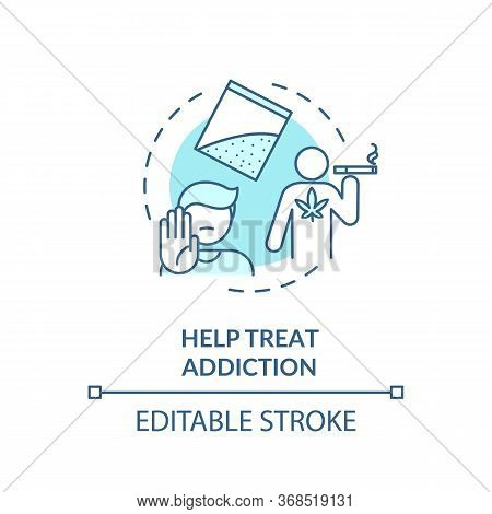 Help Treat Addiction Turquoise Concept Icon. Quitting Smoking Program. Drugs Dependence Rehabilitati