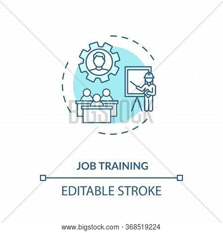 Job Training Turquoise Concept Icon. Professional Education. Company Employers Mentoring Thin Line I