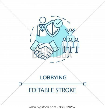 Lobbying Turquoise Concept Icon. Social Interest Representation Idea Thin Line Illustration. Governm