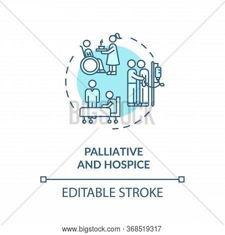 Palliative And Concept Icon. Patient With Chronic Disease Caregiving Service Idea Thin Line Illustra