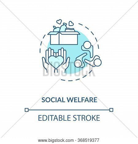 Social Welfare Concept Icon. Philanthropy Idea Thin Line Illustration. Nonprofit Organization. Commu