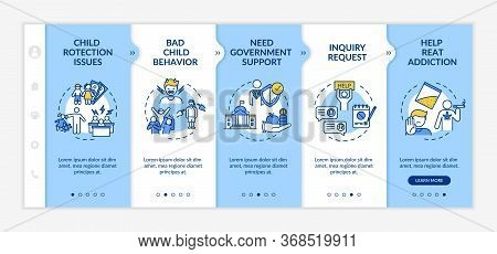 Government Support Onboarding Vector Template. Child Protection Issue. Help Treat Addiction. Respons
