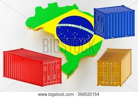3d Map Of Brazil. Freight Shipping In Containers. Export From The Country In Containers. 3d Renderin