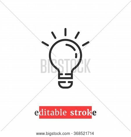 Minimal Editable Stroke Bulb Icon. Concept Of Lampbulb Emblem With Change Line Thickness. Flat Linea