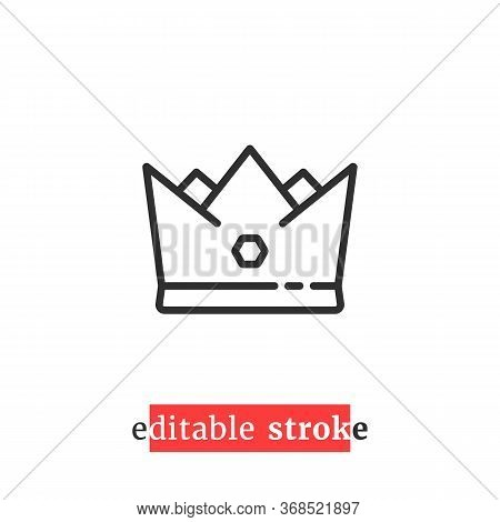 Minimal Editable Stroke Crown Icon. Flat Lineart Trend Modern Retro Regal Logotype Graphic Ui Design