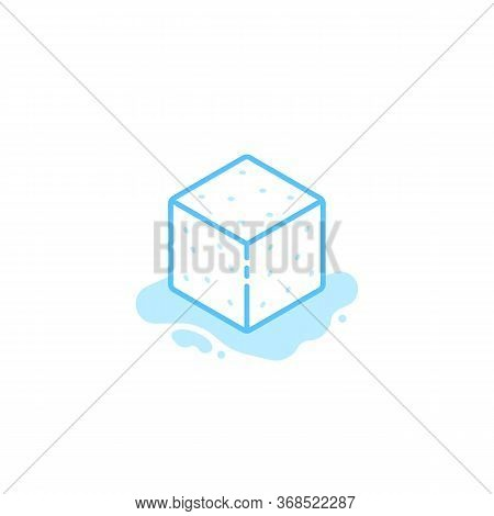 Ice Cube Blue Icon Isolated On White. Flat Linear Style Trend Modern Icecube Logotype Graphic Art De