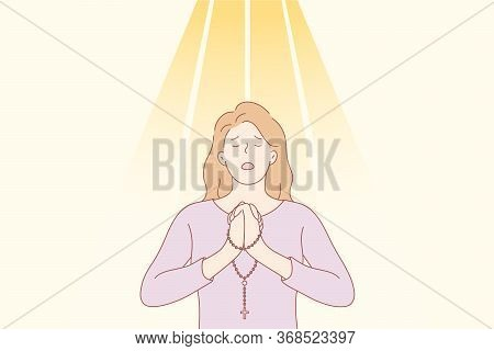 Praying, Religion, Christianity Concept. Young Desperate Religious Woman Or Girl Christian Cartoon C