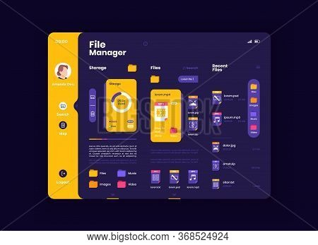 File Organizer Tablet Interface Vector Template. Mobile App Page Night Mode Design Layout. Gadget In