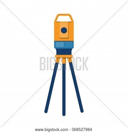 Theodolite Tripod. Surveying Instrument. Geodetic Optical Measuring Laser Level Devices. Isolated Ve